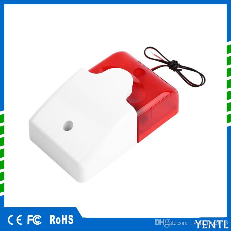 free shipping YENTL Mini Wired Strobe Siren Durable 12V Sound Alarm Strobe Flashing Red Light Sound Siren Home car Security Alarm System