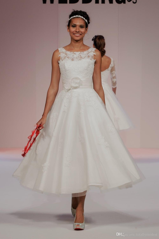La longitud del té del cortocircuito del cordón vestidos de novia Sleevelss Becerro antiguos longitud informales 1950 vestido nupcial de la boda del estilo rústico Vestidos por encargo