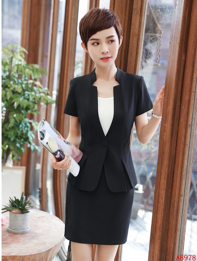1151ad24f4 Compre Nuevo Estilo De Verano Formal Negro Blazer Mujeres Trajes De Negocios  Conjuntos De Falda Y Chaqueta Diseños De Uniformes De Oficina A  58.78 Del  ...
