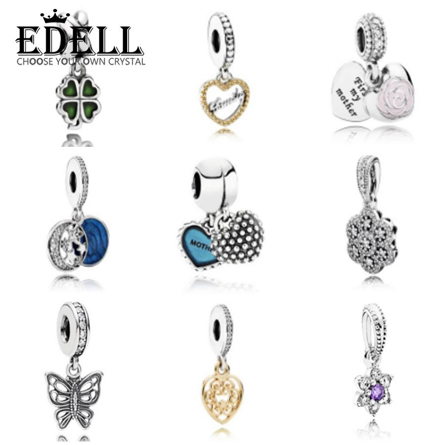 EDELL Genuine 925 Silver Jewelry Sterling Silver Bell Pendant Pearl Jewelry Making Fits Original Charm Bracelet gift S18101307