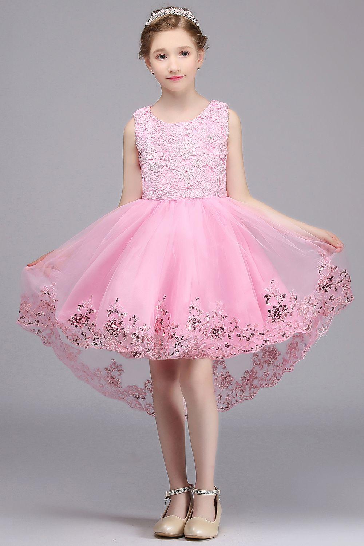 de38020bea3 Lovely Pink Lace Flower Girl Dresses Sequin Tulle Communion Dresses Ball  Gown Kids Pageant Dresses For Girls Glitz Flower Girl Dress Sewing Patterns  Flower ...