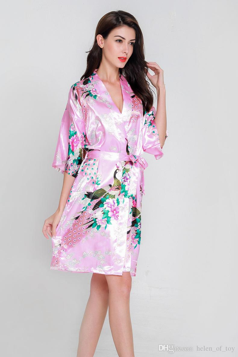 91e1eaf7ce 2018 Hot Sale New Arrival Peacock Robe Bathrobe Sexy Cardigan Simulation  Silk Pajamas Ladies Summer Large Size Home Service From Helen of toy