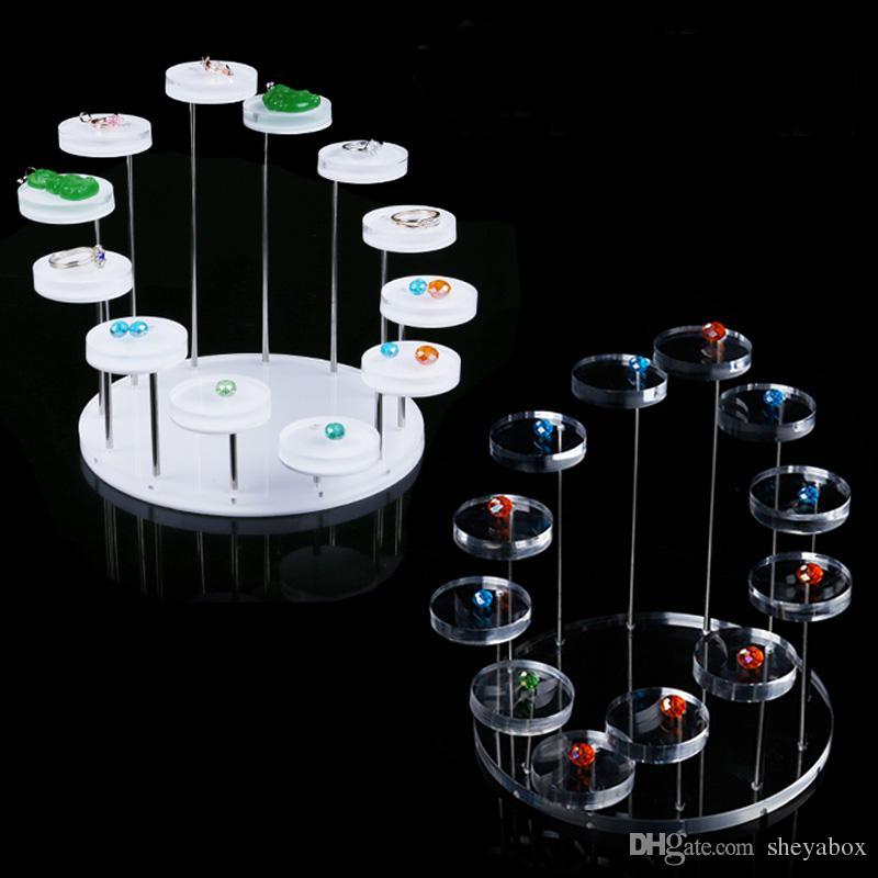 La mostra dei gioielli di funzione della vetrina del negozio di gioielli del pendente rotondo del banco di mostra del pendente della pietra preziosa di bianco mostra multi libera di trasporto