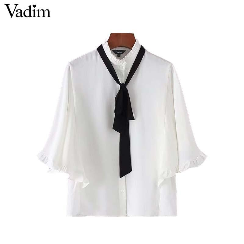 8d89cd442a5f01 2019 Vadim Women Sweet Bow Tie Ruffles White Shirts Batwing Sleeve Ruffled  Collar Blouse Female Casual Chic Tops Blusas DT1335 From Lbdapparel