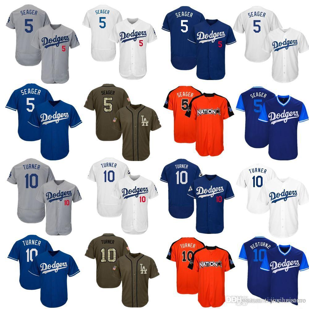 2019 2019 Men Women Youth Dodgers Jersey 5 Seager 10 Turner Baseball Jersey  White Gray Grey Blue Green Salute To Service Players Weekend All Star From  ... d72ede9353b