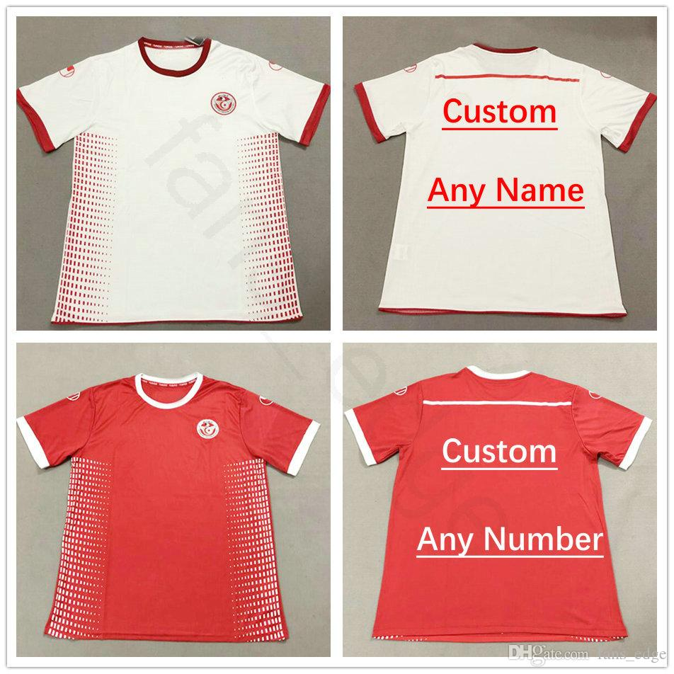 b7504e208 2018 Tunisia World Cup Soccer Jerseys 7 Msakni 10 Khazri 23 Sliti Wahbi  Khaoui FAKHREDDINE BEN YOUSSE HAMZA Custom Red White Football Shirt UK 2019  From ...