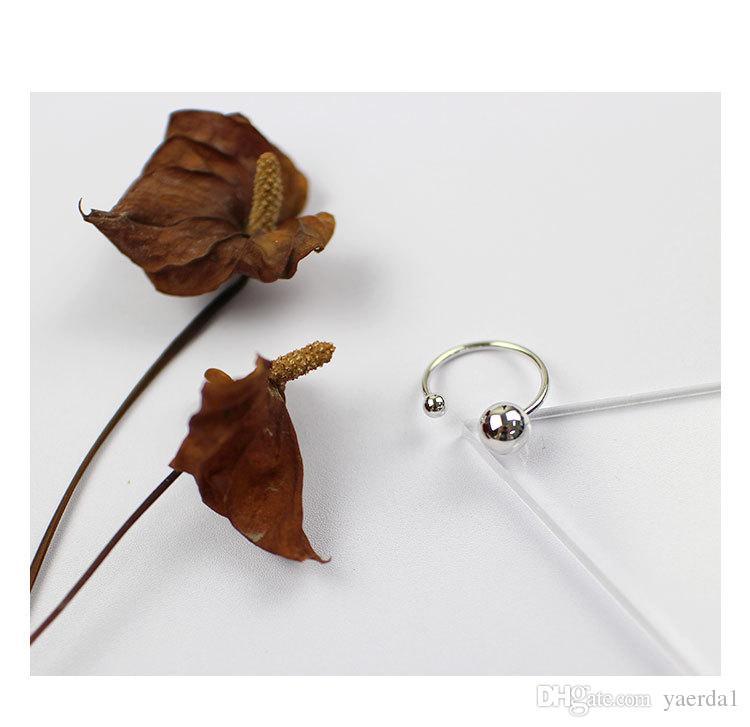 Japon et la Corée du Sud CHIC Style S925 Sterling Silver Line Taille Balle Perle Ouverture Anneau Argent anneaux de mariage boucles d'oreilles perle cages hommes anneaux