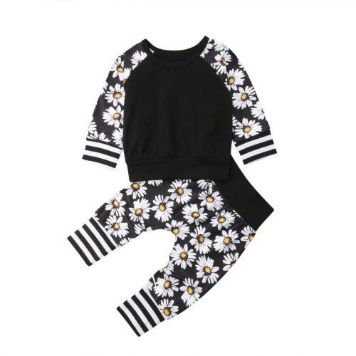 b350f00572b044 2019 Toddler Infant Baby Boy Girl Striped Casual Flower T Shirt Long Pants Leggings  Floral Outfit From Jeanyme, $35.84 | DHgate.Com