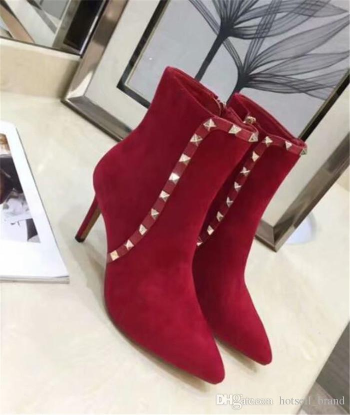 Women Leather High Heels 2018 Autumn And Winter New Booties Sexy Pointed  Stiletto Rivet Martin Boots Elegant Solid Pointed Toe Online with   308.56 Piece on ... afeeccfd79ff