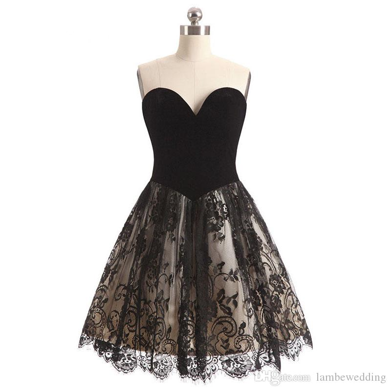 c870a146115 Vintage 2018 New Arrival Real Photos A Line Sweetheart Velvet Short Black  Prom Dress Lace Knee Length Party Dress Vestidos De Fiesta Edgy Prom Dresses  ...
