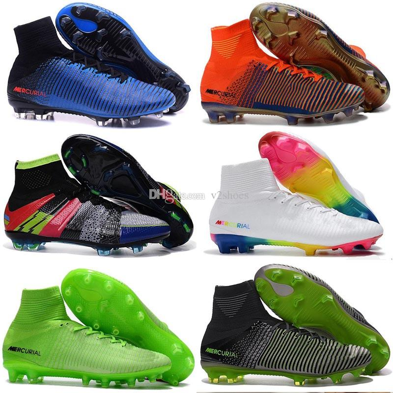 huge selection of 77f0d c7405 2017 New men Cristiano Ronaldo Mercurial Superfly Iv FG CR7 501 Boot White  Golden Soccer Shoes,Cheap Chapter 5 mens Training Sneakers Cleats