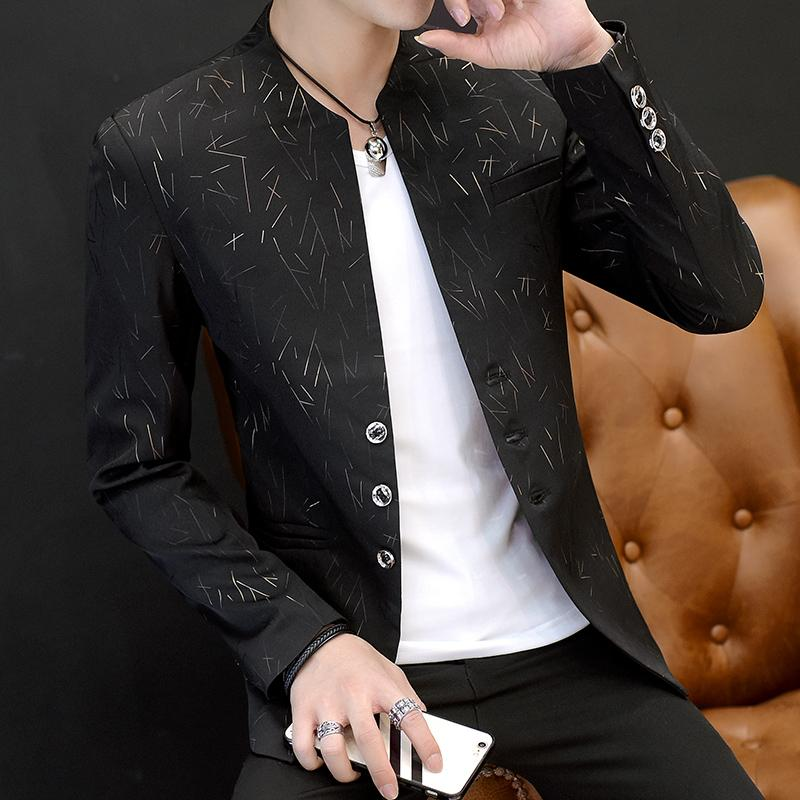 Traje casual con cuello redondo para hombre de 2018, joven, elegante tendencia Traje estampado delgado
