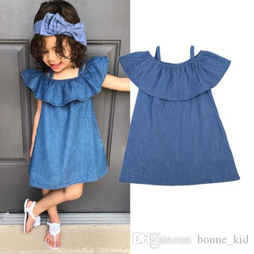 e0cb8ba0b643 2019 Summer Baby Girls Off Shoulder Denim Dress Ruffled Blue Sundress Casual  Solid Color Prom Dresses Children Clothing Girls Party Costume From  Bonne kid