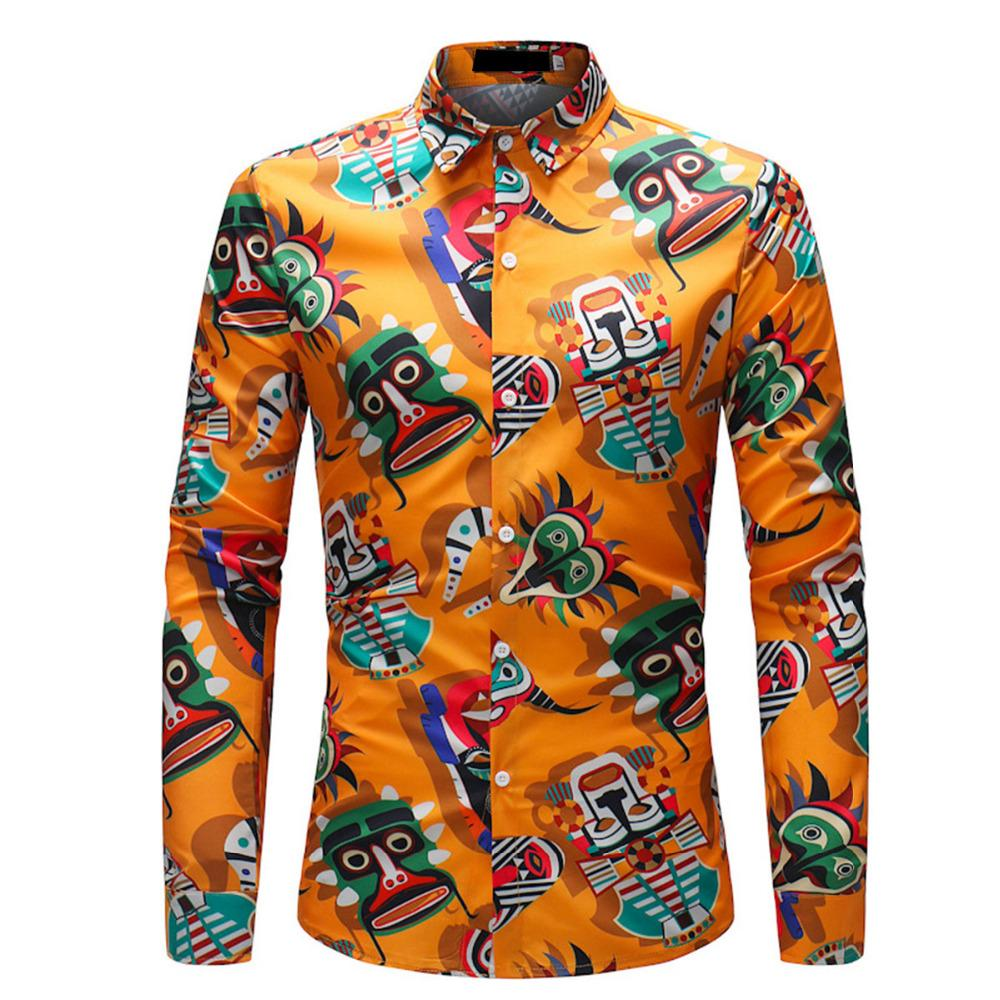 2019 Fashion Male Slim Fit Dress Shirt Men Luxury Print Shirts Long