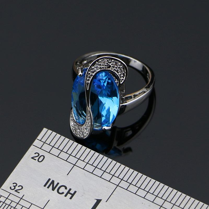 Mystic Oval Blue Zirkonia 925 Silber Schmuck Sets für Frauen Hochzeit Ohrringe / Anhänger / Halskette / Ring