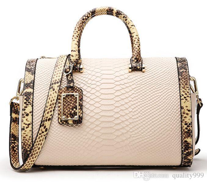 079b4555de Top Quality New Women Cowhide Handbag Boston Handbags Snake Pattern ...