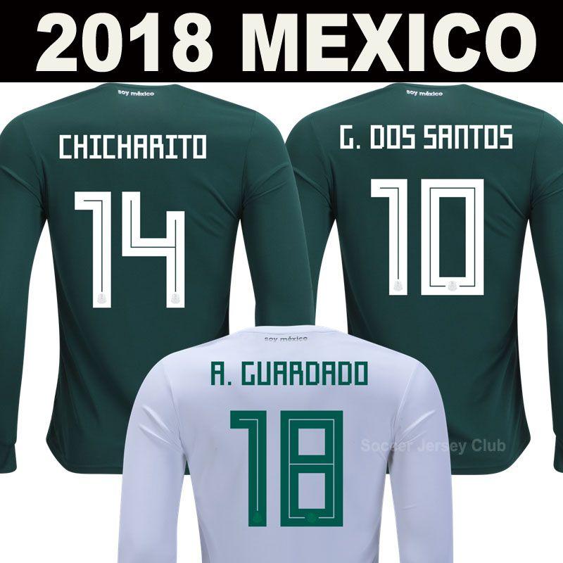 71b5dacac 2019 2018 Long Sleeve Mexico Soccer Jerseys CHICHARITO LOZANO CHUCKY Full  Sleeve World Cup Football Shirts MARQUEZ DOS SANTOS Camisetas De Futbol  From ...