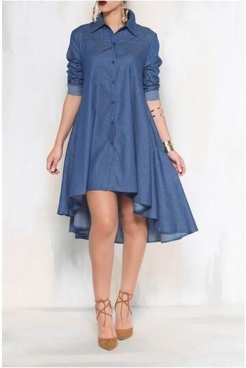 92218c94da Women Denim Dress Hi Lo Irregular Bottom Design Long Sleeve Shirts With  Pockets Large Size Single Breasted Dresses For Spring Autumn Long  Sundresses On Sale ...
