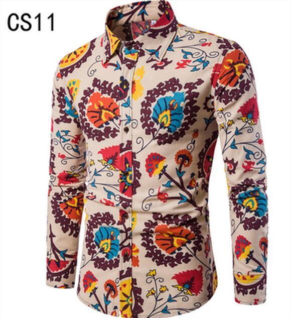 5c5987fe4443d8 2018 Spring Men 'S Shirt Floral Printing Long Sleeve Shirts Men Clothes Flowers  Printed Shirts Vintage Linen Casual Male Shirt