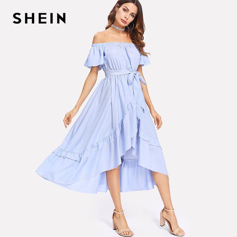 9b4195c262966 Großhandel SHEIN Rüschenbesatz Überlappungssaum Gestreiftes Bardot Kleid  2018 Sommer Lange Kleider Weg Von Der Schulter Bindungs Taille Eine Linie  ...