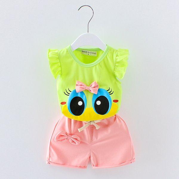 newborn infant toddler kids 0-4 years baby girls vest suit kids girls summer wear clothes child cartoon T-shirt+short