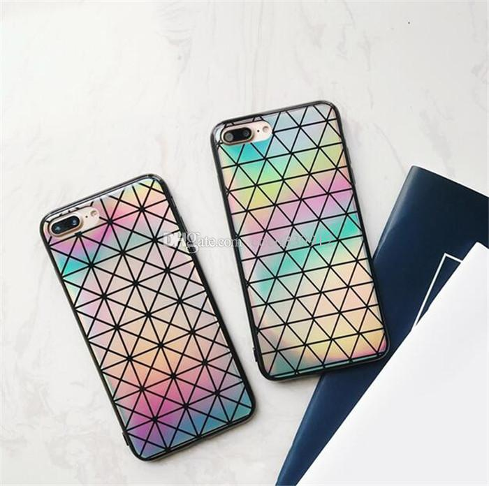Laser Rainbow Shiny Case Sparking Bling Felxible funda de TPU suave para iPhone X 8 7 6 6 S Plus