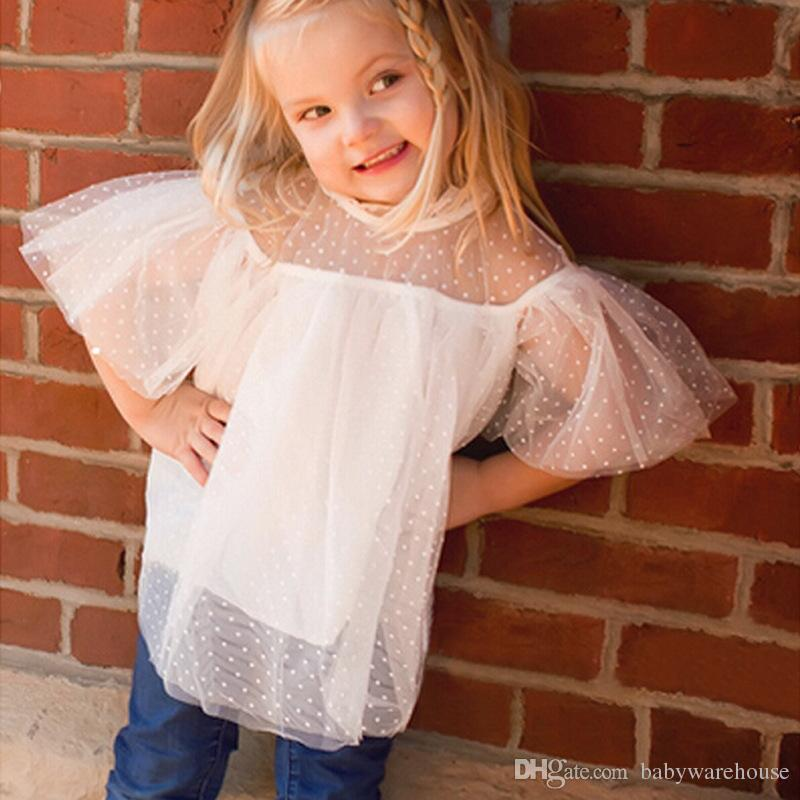 2018 Baby Girl Clothes Lace Mesh Tops Clothes Summer Short Sleeve Fake Two Pieces Tees Tops Shirt Hot Sale White Lace Children Clothing