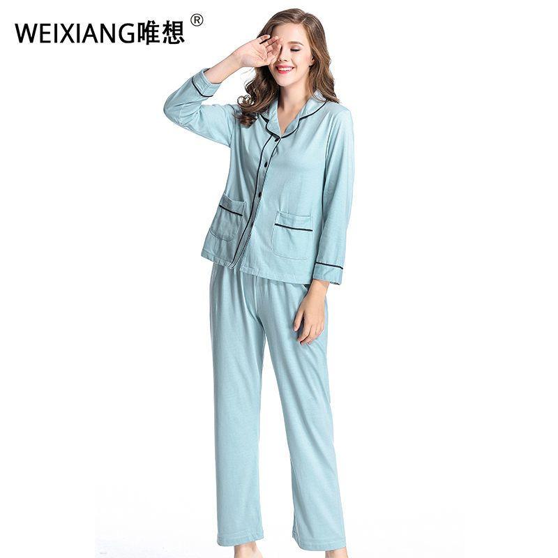 cd78b5c0c1 2019 WEIXIANG Women Winter Pajama Set Soft Printing Pijama Home Pyjamas  Woman Cotton Pyjama Set Sleepwear Plus Size Pajamas For Women D18110501  From ...