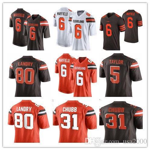 20b5170fe Cleveland Browns 6 Baker Mayfield 21 Denzel Ward 80 Jarvis Landry Jersey  Mens 95 Myles Garrett 31Chubb 22 Peppers Football Jerseys 33 Online with ...