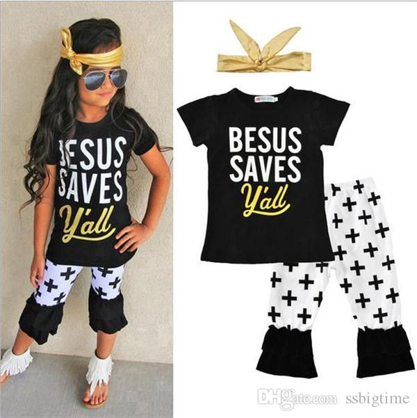 f9d1bda7eb33 2019 2018 Girls Baby Childrens Clothing Set Letters Tshirts Pants Headbands  Set Fashion Summer Girl Kids Tops Boutique Clothes Outfits B17 From  Ssbigtime