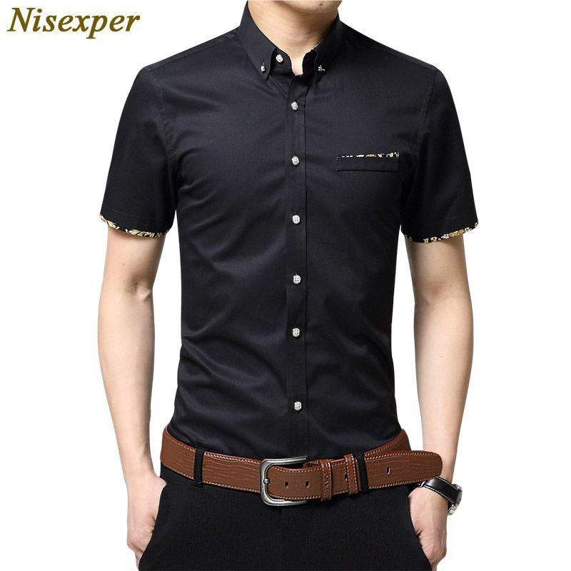 2019 Nisexper Cotton Dress Shirt Fashion Men S Shirts Slim Business