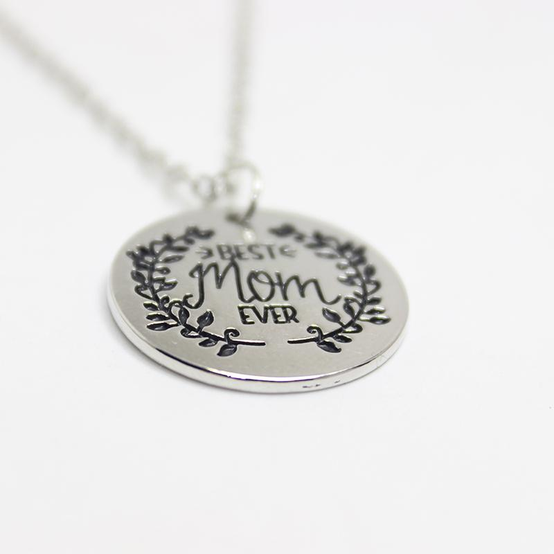 12pcs/wholesale fashion necklace BEST MOM EVER Engraved Pendant Charms Necklace for mother gift jewelry