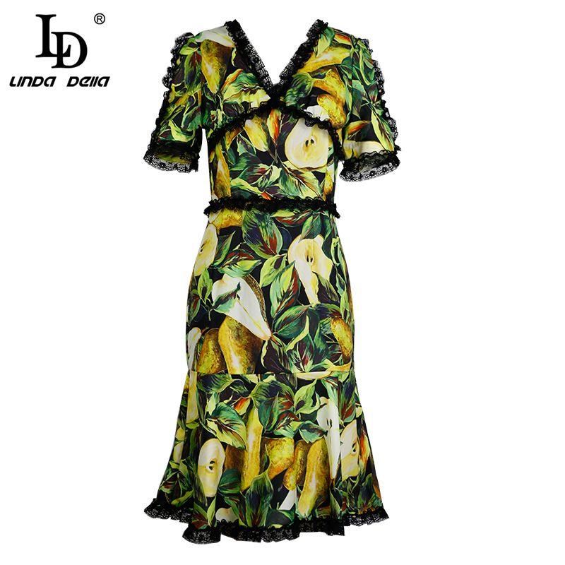 578f7524e4f03 LD LINDA DELLA New 2018 Runway Fashion Summer Dress Women's V-Neck Fruit  Lace Printed Patchwork Sexy Mermaid Party Dress
