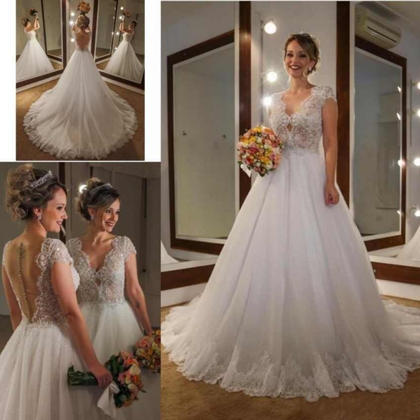 37d0526a13 Elegant A-Line Wedding Dresses 2019 V-Neck Cap Sleeves Lace Applique ...