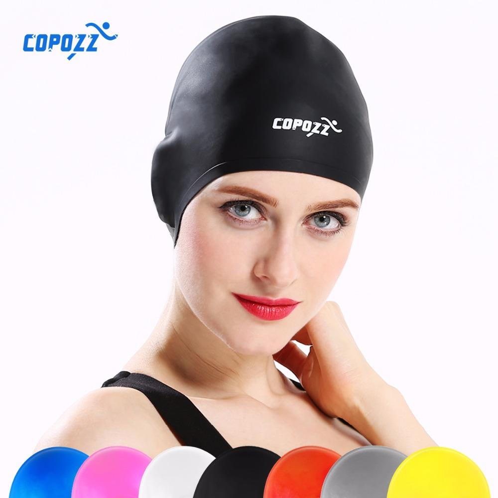 COPOZZ Silicone Waterproof 3D Swimming Caps for Men Women Long Hair Swimming Hat Cover Ear Bone Pool