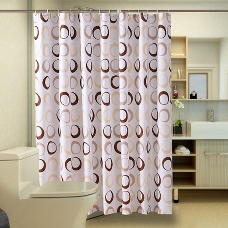 HELLOYOUNG Circle Pattern Polyester Bathroom Waterproof Shower Curtains With Plastic Hooks