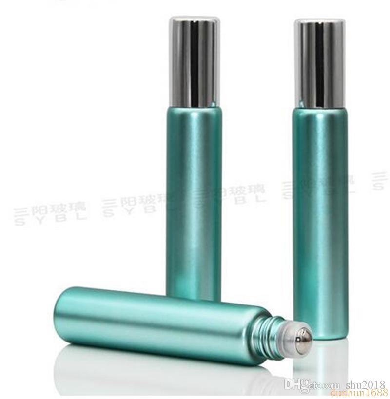 무료 배송 10ml 1/3 온스 UV 글래스 그린 향수 롤에 글라스 보틀 필수 오일 스틸 메탈 롤러 볼 아로마 테라피