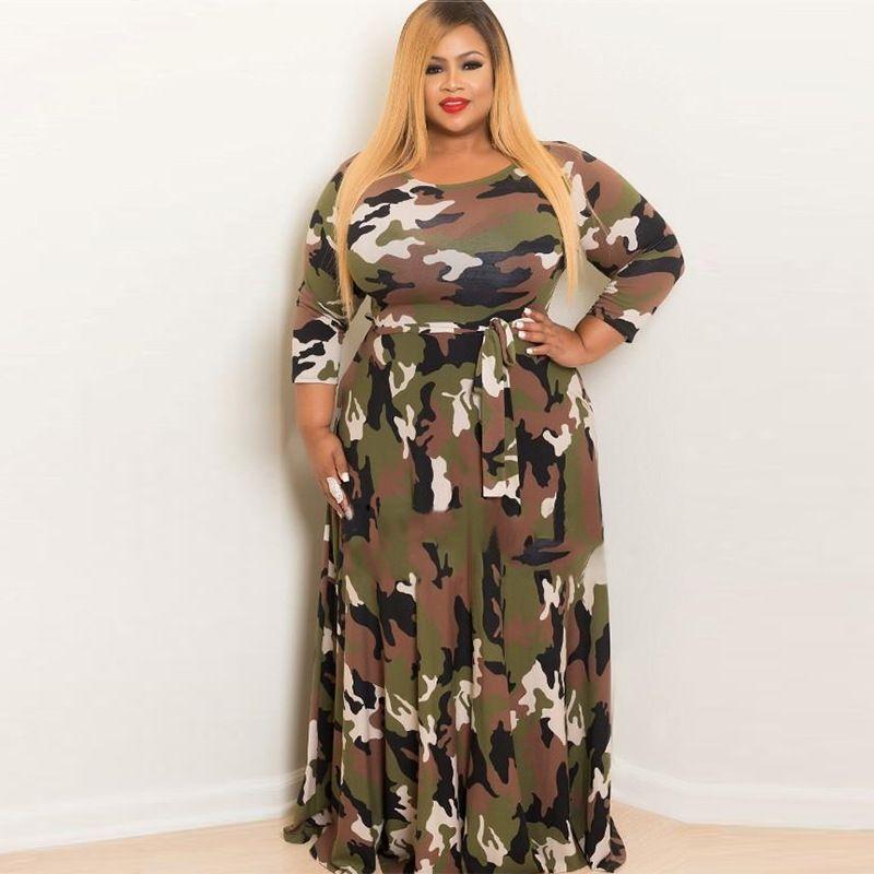 2c53778a766de Satın Al Moda Kadın Günlük Elbiseler Kamuflaj Elbise Maxi Etek Uzun Elbise  Uzun Kollu Etekler Pamuk, $25.13   DHgate.Com'da
