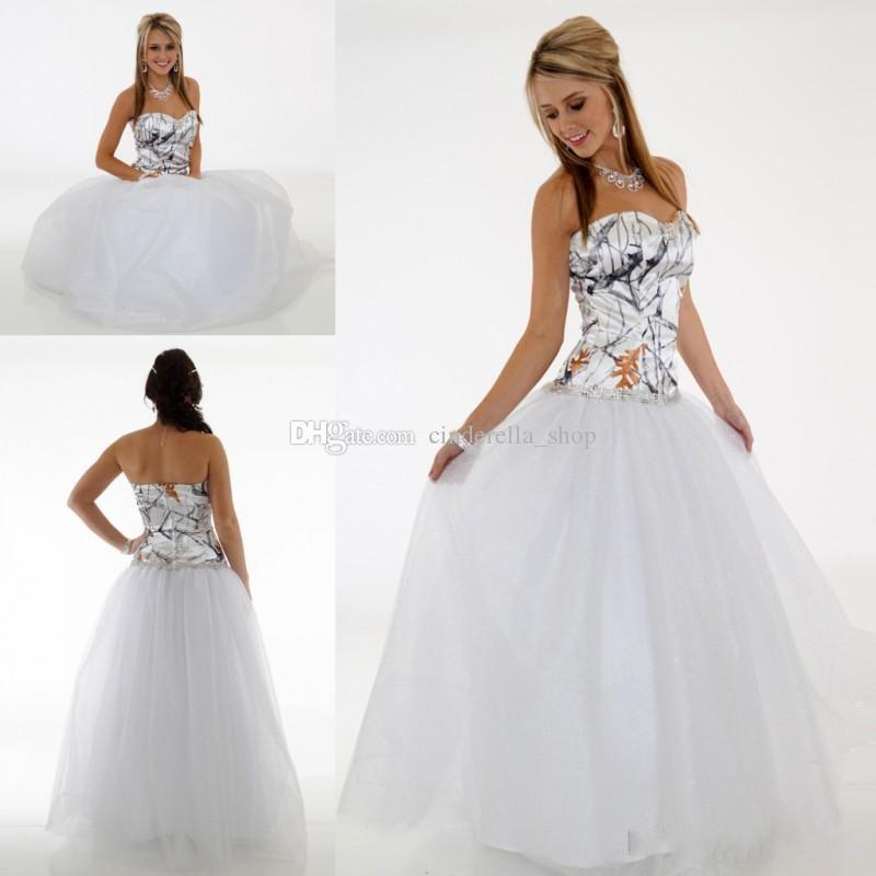 Discount 2018 Simple Camo Wedding Dresses Sweetheart Floor Length