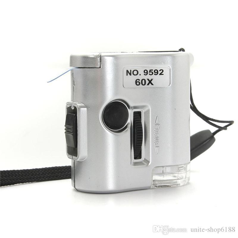 뜨거운 판매 60X 현미경 조명 된 돋보기 유리 보석상 Loupe 렌즈와 LED 자외선 조명 시계 수리 도구