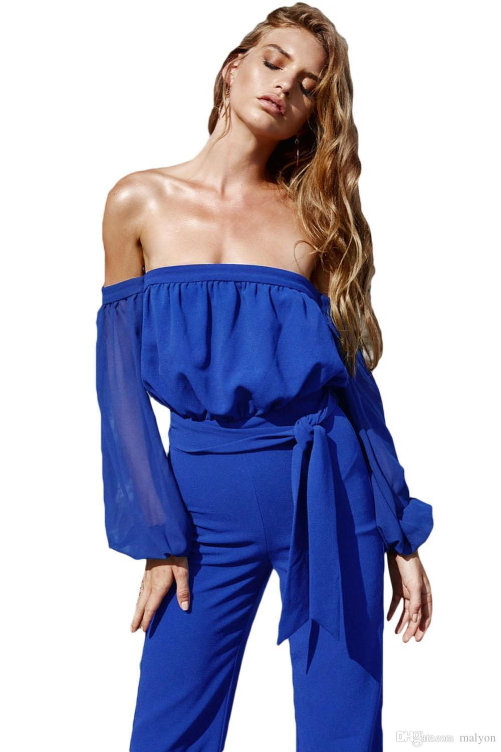 612470c9f2f 2019 Wholesale Adogirl Women Royal Blue Tie Waist Jumpsuit Long Sleeve Off  Shoulder Autumn Rompers 2016 Hot Lady Jumpsuits One Piece Overalls From  Malyon