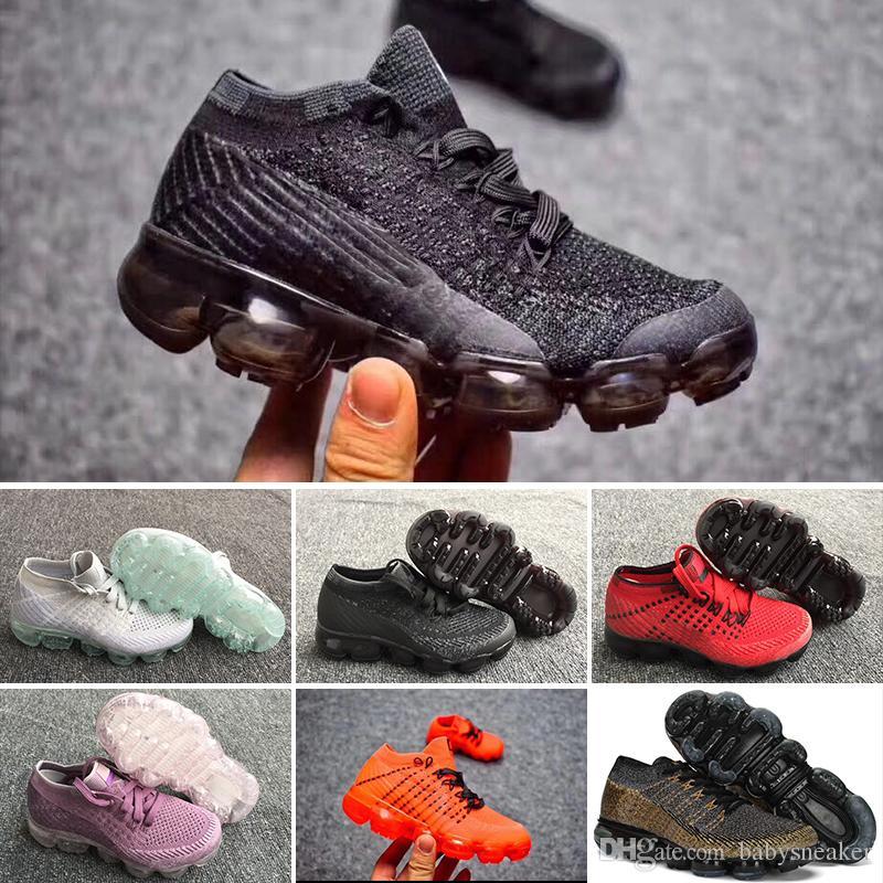 2e4aa69f714 2018 Kids Running Shoes Triple Black Infant Sneakers Rainbow ...