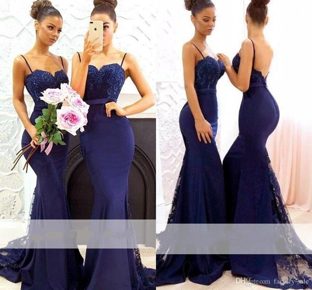 6875125c008 2018 Navy Blue Beaded Lace Mermaid Bridemaid Dresses Long Spaghetti Straps  Sweep Train Applique Maid Of Honor Dress Wedding Party Gowns Dusky Pink ...