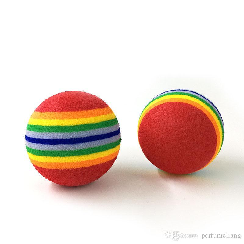 4.2 cm Colorido Pet Cat Bola de Espuma Suave Perro Rainbow Jugar Bolas Actividad Juguetes Divertidos Bolas EVA ZA6482