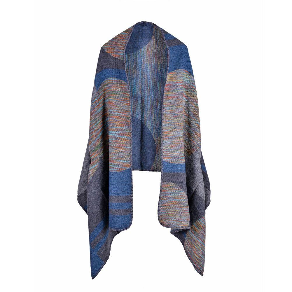 Vintage Women Faux Cashmere Knitted Poncho Shawl Cardigan Sweater Geometric Pattern Oversized Long Bohemia Cape