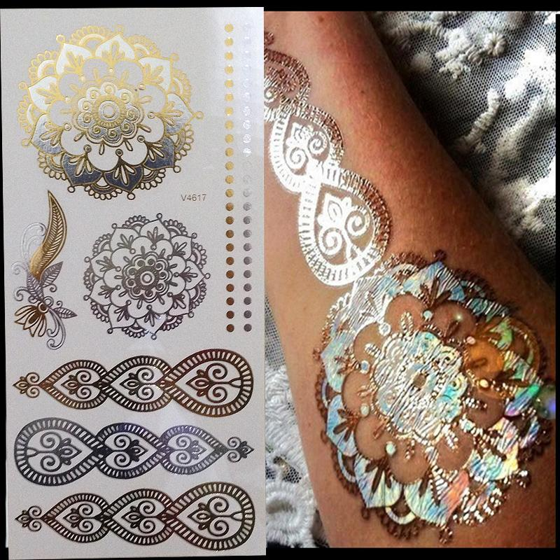 New Glitter Body Art Painting Flash Gold Tattoo Large Arabic Indian Temporary Tattoos Stickers