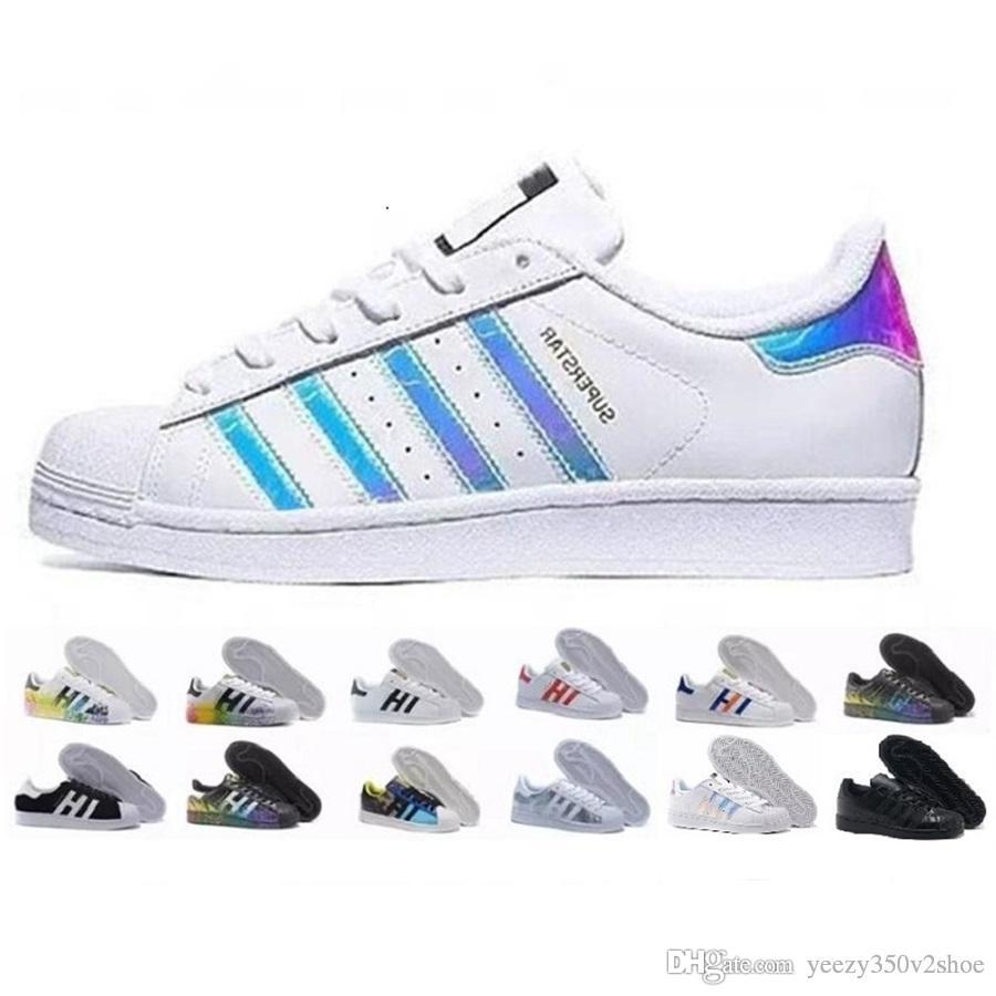 half off b2c5e c1149 Compre 2018 Superstar Original White Hologram Iridescent Junior Gold  Superstars Sneakers Originals Super Star Mujer Hombre Deportes Casual Shoes  36 45 A ...