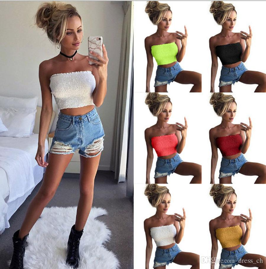 38cea262efa70 2019 Women Strapless Elastic Boob Bandeau Tube Tops Bra Lingerie Wrap  Casual Solid Ladies Blusas From Dress ch