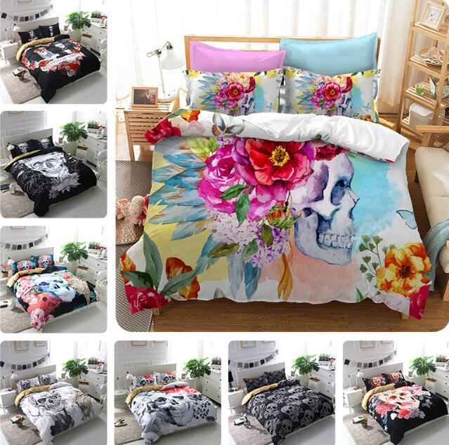 3D Skull Printed Bedding Set Luxury 3d Bed Quilt Cover Duvet Cover Sheets Set Halloween Style Bed Sheet