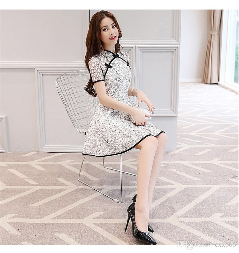 906155006bf9 2018 Summer Design Traditional Chinese Dress Lace Charming Cheongsam ...